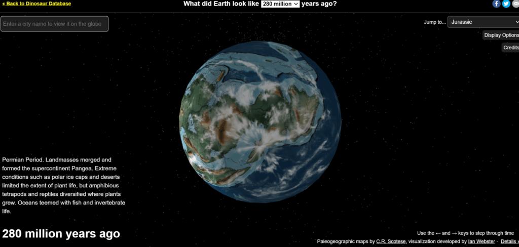 Mapa interactivo de dinosaurios