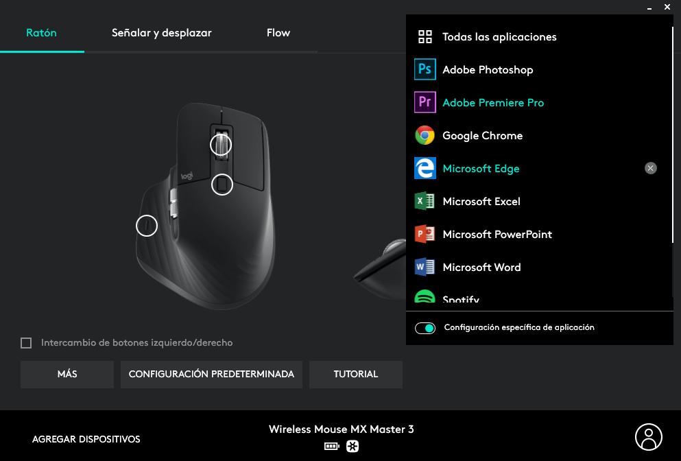 Logitech Option aplicación de configuración del MX Master 3