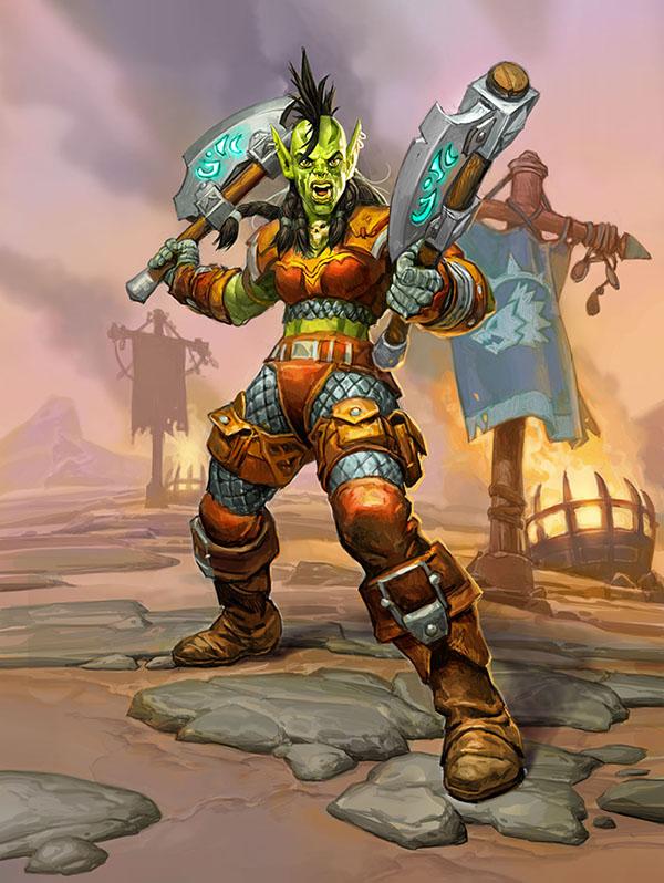 La nueva mercenaria de la Horda: Rokara en el nuevo libro de mercenarios de Hearthstone.