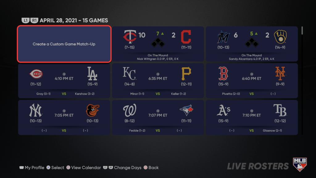 MLB The Show 21 - Rosters y partidos en tiempo real