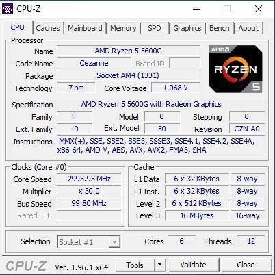 CPU Z Amd ryzen 5 5600G