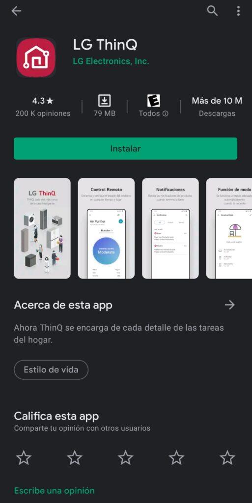 aplicación LG ThinQ